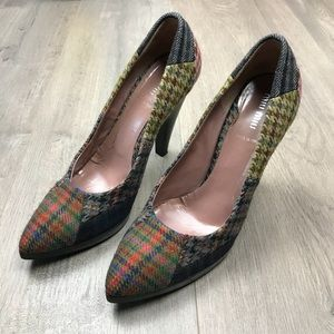 Miu Miu Patchwork Plaid Wool Heels 39